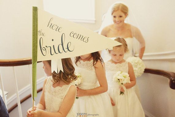 Here Comes The Bride Sign — Large Pennant Flag For Your Flower Girl by Ritzy Rose