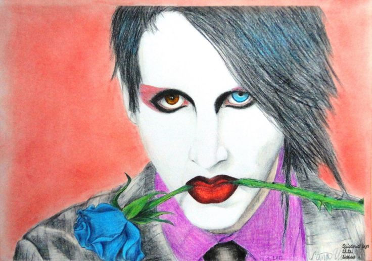Marilyn Manson portrait Coloured by me Original artwork from deviantart (See link in the comment)