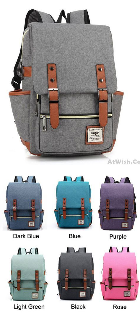 Which color do you like? Retro Large Travel Backpack Leisure Leather Canvas Backpack Schoolbag #retro #leisure #travel #backpack #bag #canvas