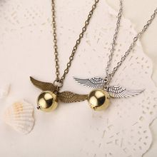 Populaire Harry Potter Ketting Vintage Stijl Angel Wing Charm Golden Snitch Hangende Ketting Voor Mannen Ketting Tainless Keten(China (Mainland))