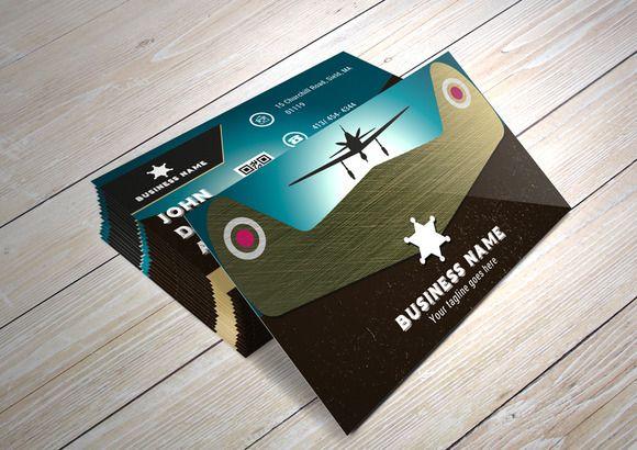 Vintage B.Card/ the Air Conqueror by NicuB on Creative Market