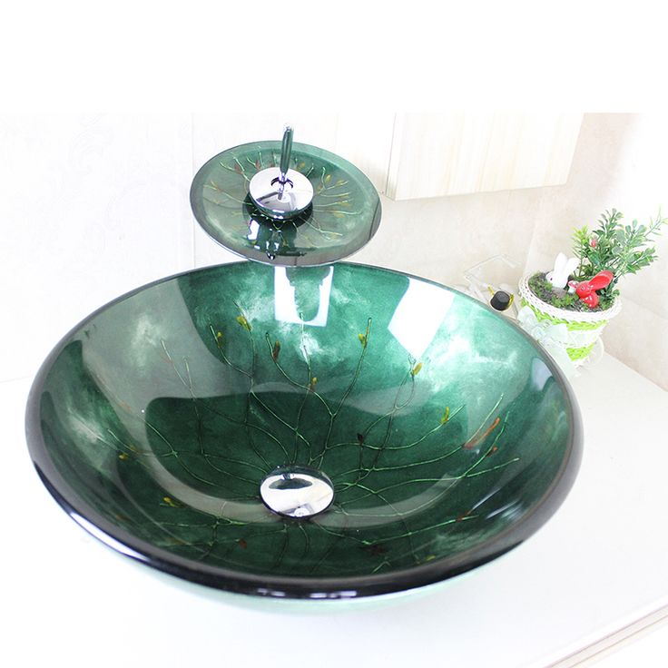 Unique Modern Round Dark Green Tempered Glass Sink and Faucet sets with Waterfall Faucet Water Drain Mounting