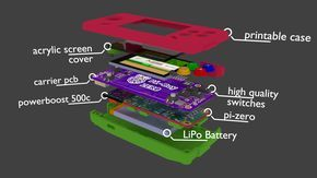 """the idea is to build upon the great PiGrrl - a gameboy-like portable console that is raspberry-pi driven - but to use a single carrier pcb to reduce the size to a gameboy-micro like form-factor.  this project will build upon the open-source (thnx! :-D) plans for different adafruit products and their """"learning""""-resources to add the different features - and ultimately build a truly compact and portable console"""