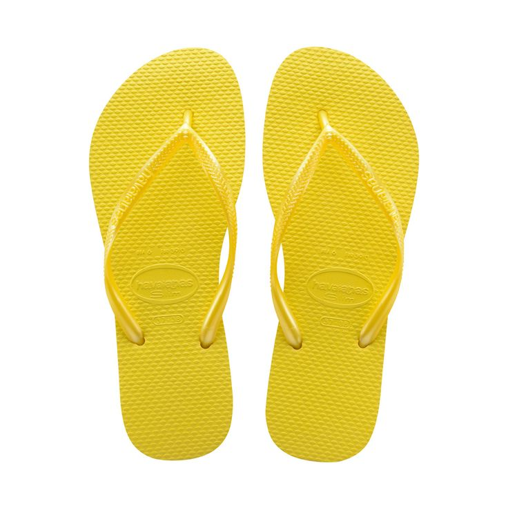 Damen Haviannas Slim Fresh Pop Up Strand Urlaub Flip Flops Sandalen - Neon Gelb - 37/38 CttRH
