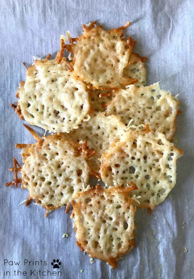 One ingredient parmesan crisps are so easy to make. You can use them as dog treats or serve for human consumption in place of tortilla or potato chips!