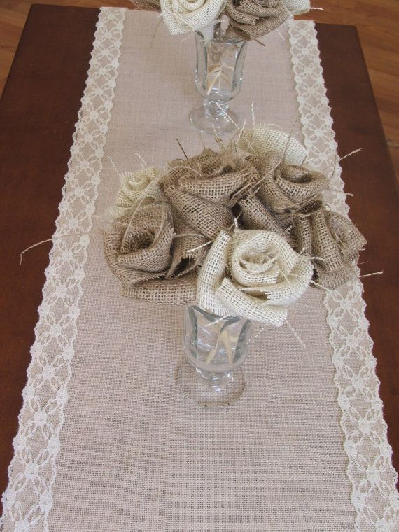 Burlap table runner with cream lace