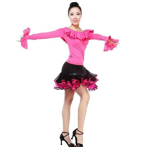 Women's Tops & Skirts Ballroom Salsa Samba Rumba Tango Latin Dance Dress: Sports & Outdoors