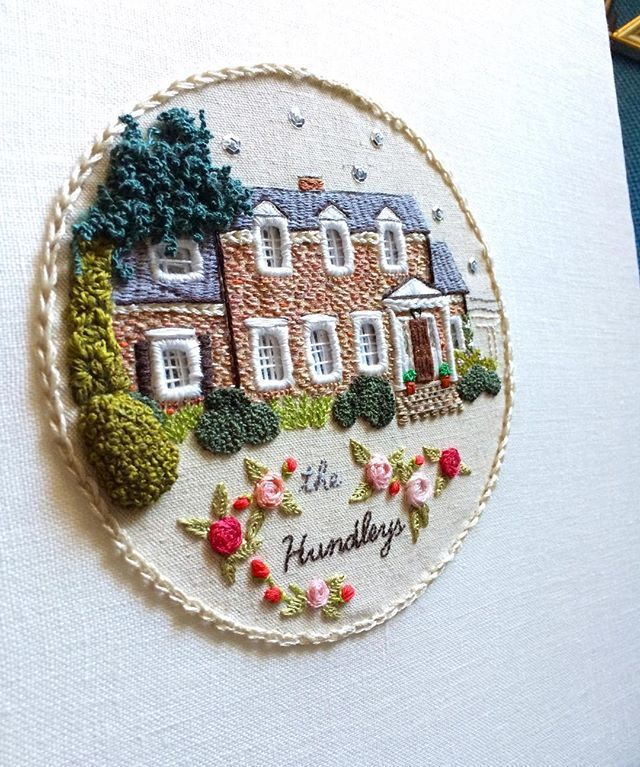 Personalized embroidered house