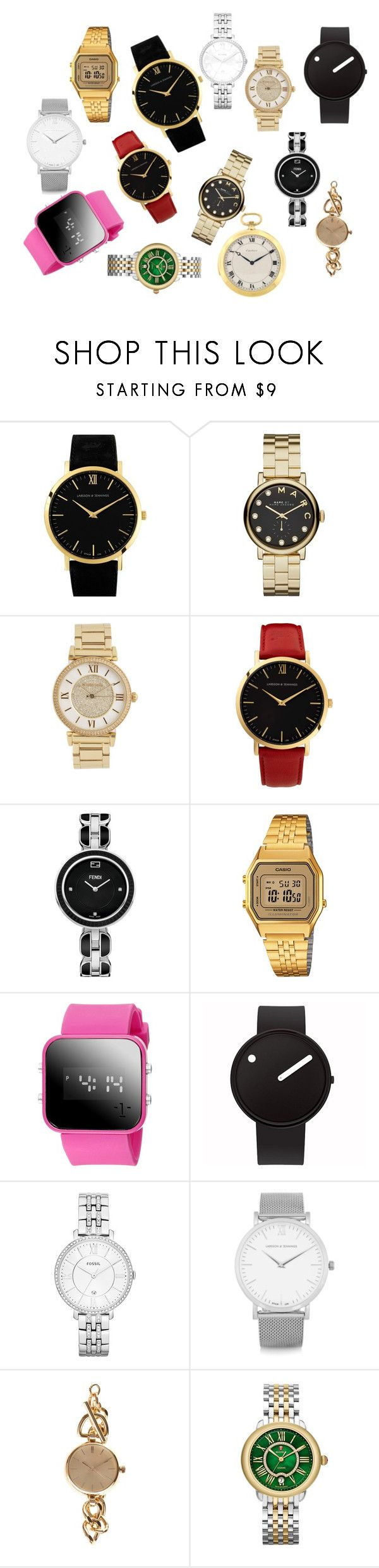 """""""Watches"""" by m-j-ebbesson on Polyvore featuring Larsson & Jennings, Marc by Marc Jacobs, Michael Kors, Fendi, Casio, Rosendahl, FOSSIL, ZALORA and Michele"""