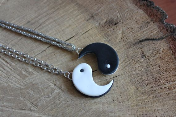 Yin Yang friendship necklace fimo Best friend of by Fimotion