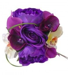 Purple & Ivory Bridesmaids Bouquet with Peony, Calla & Orchids