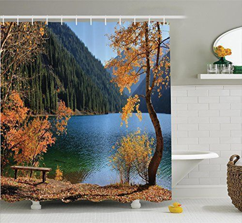 Farm House Decor Shower Curtain Set By Ambesonne, Autumn Season By Lake And Mountain Asian Nature Theme Fall Trees In The Wilderness, Bathroom Accessories, 69W X 70L Inches, Orange Green #Farm #House #Decor #Shower #Curtain #Ambesonne, #Autumn #Season #Lake #Mountain #Asian #Nature #Theme #Fall #Trees #Wilderness, #Bathroom #Accessories, #Inches, #Orange #Green #asiandecoratingbathrooms