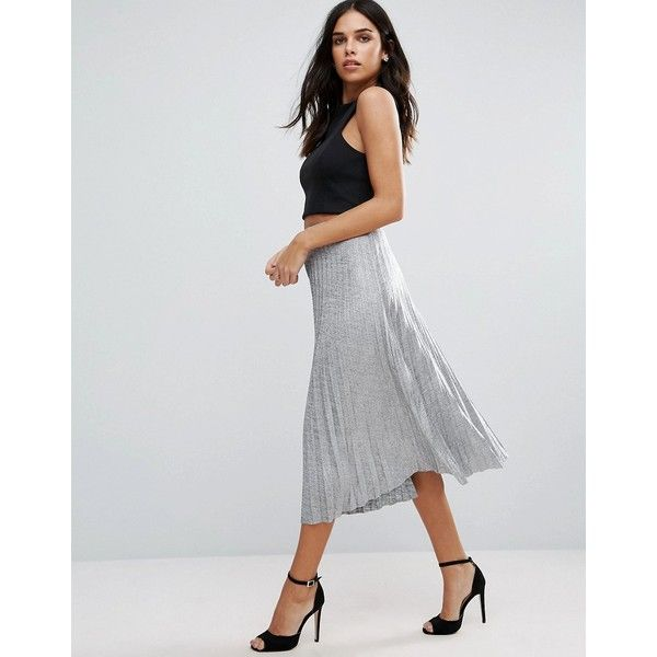 Jessica Wright Pleated Metallic Midi Skirt (£28) ❤ liked on Polyvore featuring skirts, silver, metallic high waisted skirt, tall skirts, metallic skirt, high-waisted midi skirts and metallic midi skirt