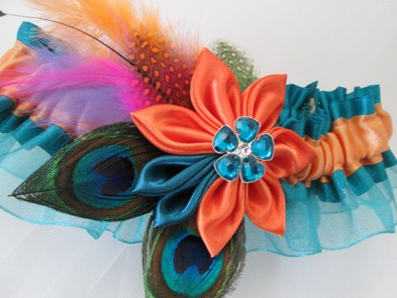 Teal & Orange Wedding Garter, Peacock Garter, Orange Kanzashi Flower, Bohemian, Birds Theme Wedding, Mermaid Garter, Orange Prom Garter