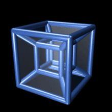 Hypercube_Projection tridimentionnelle en mouvement_Tesseract — Wikipédia
