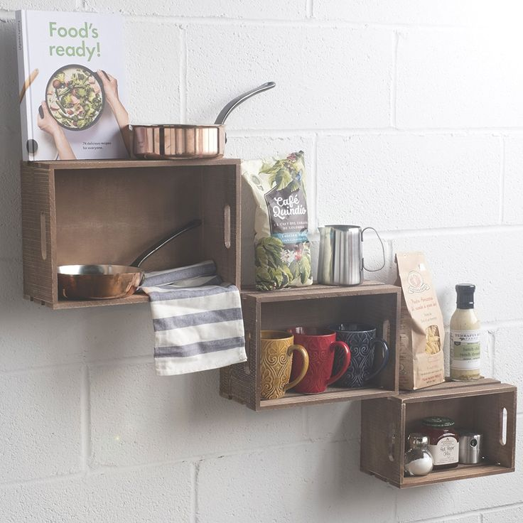 Wallniture Floating Kitchen Storage Wood Shelves Baskets Crates Spice Racks Wine Bottle Glass Rack Set of 3 Walnut Stained * You can find more details by visiting the image link. (This is an affiliate link and I receive a commission for the sales)