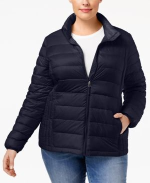 32 Degrees Plus Size Packable Down Puffer Coat - Blue 3X