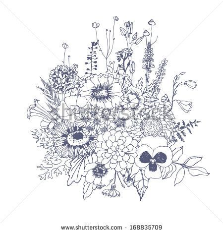 Bouquet of wildflowers, vector hand drawn illustration