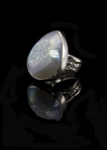 White Teardrop Opal Ring