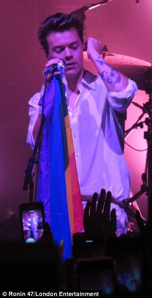 Passionate: He went on to wave a gay pride rainbow flag during his performance...