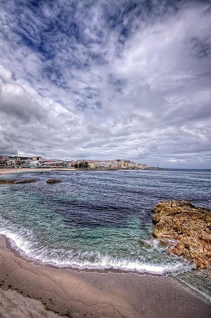 Playa de Riazor, La Coruña, cerca de mi corazon