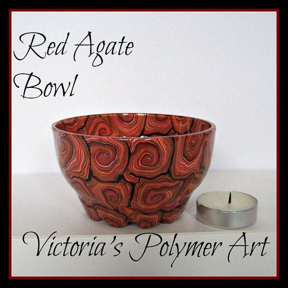 Red Agate  Polymer Clay on Glass Bowl by VictoriasPolymerArt, £10.50