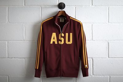 Tailgate Arizona State Track Jacket by Don't Ask Why for American Eagle Outfitters | ASU's mascot, Sparky the Sun Devil, was designed by an illustrator in 1948 who is rumored to have based the facial features on his former boss, Walt Disney. Shop the Tailgate Arizona State Track Jacket and check out more at AE.com.