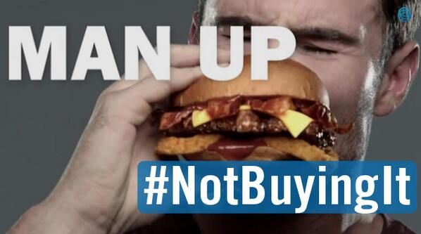 Carl's Jr. objectifies women while idealizing hypermasculinity. Definitely #NotBuyingIt:   http://jezebel.com/new-ads-stress-that-thick-juicy-burgers-are-definitely-1553640042