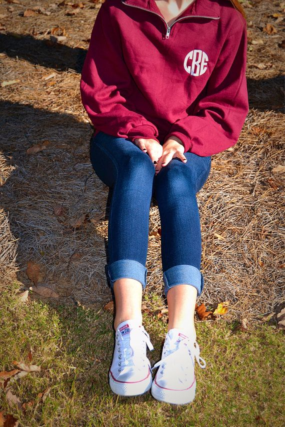 1/4 Zip Monogrammed Pullover in Navy w/ Fantasia Pink or Maroon w/ Snow White (Small) $30