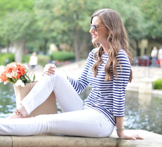2 summer striped t-shirt, white jeans, valentino rockstud espadrilles, how style a striped t-shirt for summer