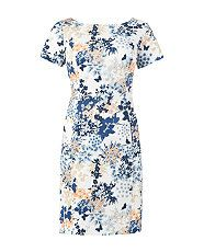 White Pattern (White) White and Blue Floral Print Short Sleeve Dress | 315803319 | New Look