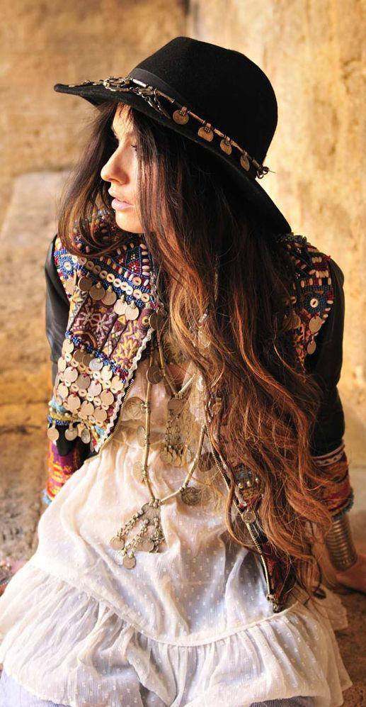 Black Ethnic Embroidered Embellished Jacket by Madame De Rosa