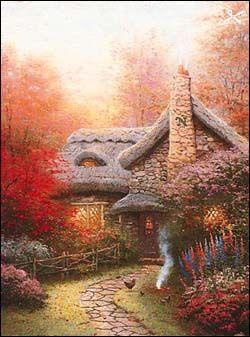 Thomas Kinkade - Autumn at Ashley's Cottage