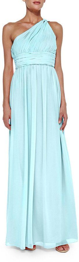 Donna Morgan One-Shoulder Chiffon Gown, Gulf Stream