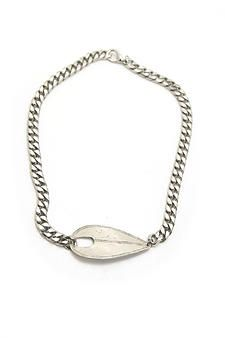 White Bronze ID Tag Necklace
