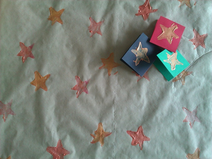 Handmade (with a sweet potato stamp) star wrapping paper and gift cards