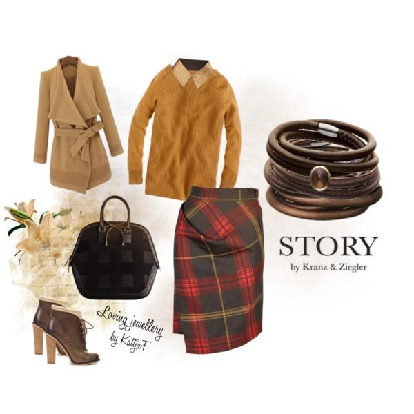 """""""check, gold tone and STORY bracelets"""" by kattjaf on Polyvore"""