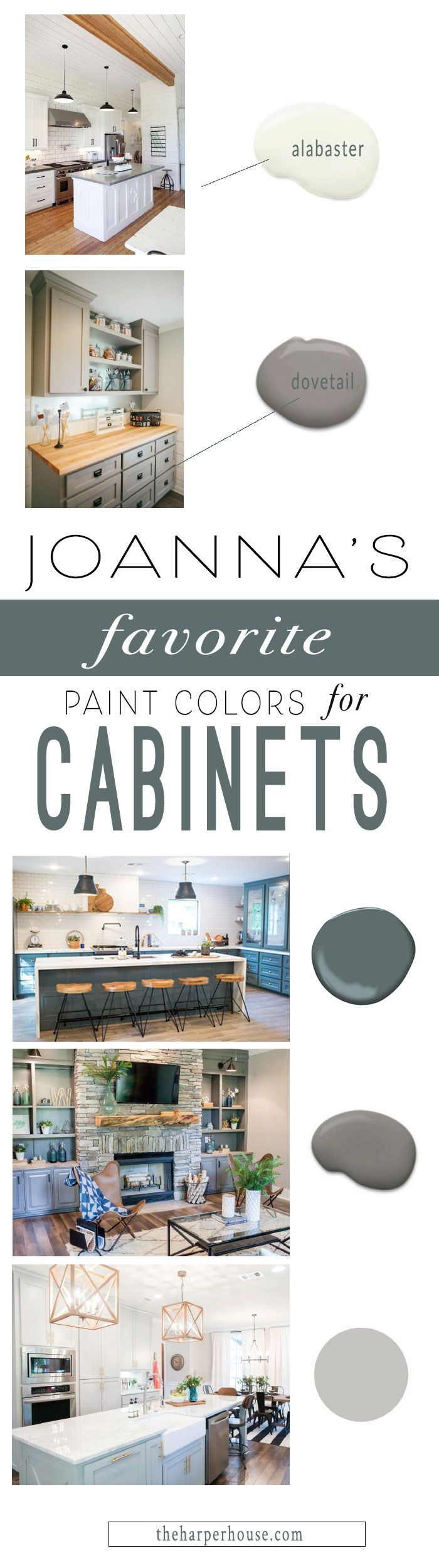 Fixer Upper style favorite paint colors for cabinets.