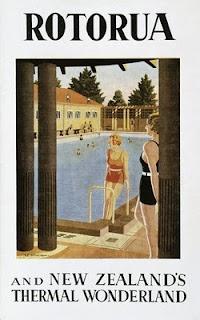 Blue Baths Rotorua - 1930s Travel Poster