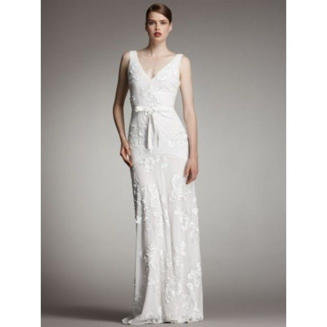 4058513909b1 Unique Chiffon A-line V-neck Spring Sleeveless Lace Empire White Wedding  Dresses