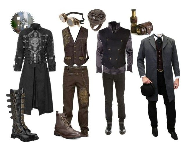 """steampunk guys"" by asking-motionless-men on Polyvore featuring Naked & Famous, Tommy Hilfiger, Demonia, mens, men, men's wear, mens wear, male, mens clothing and mens fashion"
