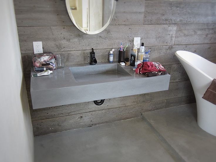 A Floating Concrete Vanity With Integral Sink Is A Unique Bathroom Design!  With The Use Of Brackets And Other Support, Your Vanity Can Attach Right  Into The ...