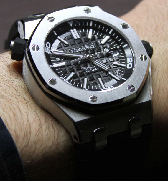 Audemars Piguet Royal Oak Offshore Diver Watch. For more Audemars Piguet visit the Watch Salon in London Jewelers Americana Manhasset or call 516 627 5164