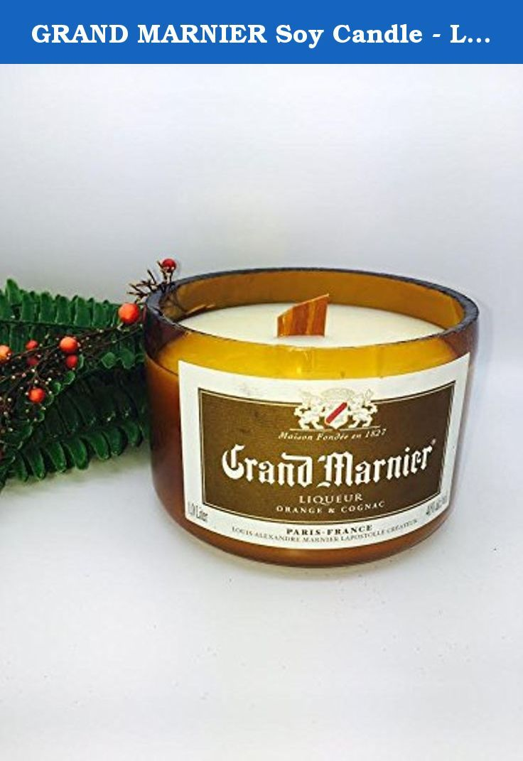 "GRAND MARNIER Soy Candle - Liquor Alcohol Cut Bottle Recycled Scented. This beautiful Grand Marnier bottle is our one and only, so grab it while you can because it will go fast! It is scented with ""Chrome,"" our most popular masculine scent. The wooden wick makes for a slower, longer burn, and it also makes an awesome crackling noise. Our specialty is cutting bottles and turning them into awesome vessels for candles. We use pure soy wax, it's non toxic, scented, and burns twice as long as..."