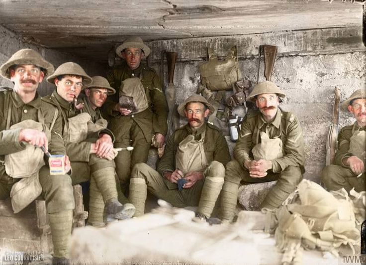 THE BATTLE OF PASSCHENDAELE, JULY-NOVEMBER 1917  Men of the West Yorkshire Regiment sitting in a captured German pill box waiting to go into action, near the St Julien - Gravenstafel road during the Battle of Polygon Wood, 26 September - 3 October, part of the Battle of Passchendaele.  (Photo source © IWM Q 2903)  Colorised by Leo Corvoisier from Argentina https://www.facebook.com/pages/Greetings-from-the-trenches/830845900362286?fref=nf