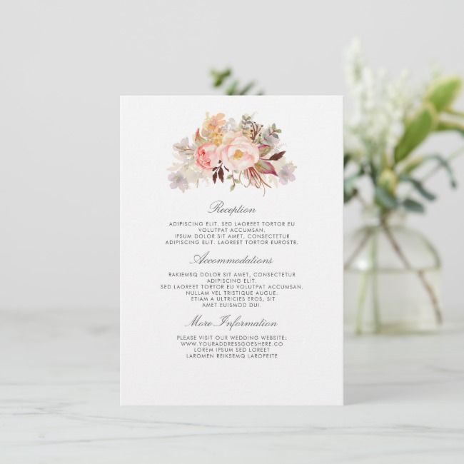 Blush Pink Floral Wedding Information Guest Enclosure Card
