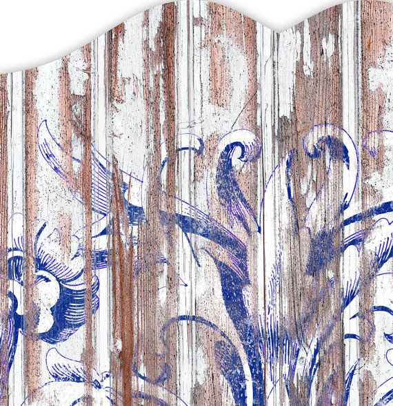 Victorian Flourish - Paint on Weathered Wood Effect - Blue and White Wall Decal Headboard Size: QUEEN (Print Size 62″ x 36″)  A great headboard idea...a headboard you just stick on the wall! I love the wood fence distress effect and so I made this using a stock photo of a distressed painted wood image and then layered a Victorian illustration on top to which I added even more weathering effects! ...So to all Damsels who love Distress ... this ones for you!  A stick-on headboard is a unique…
