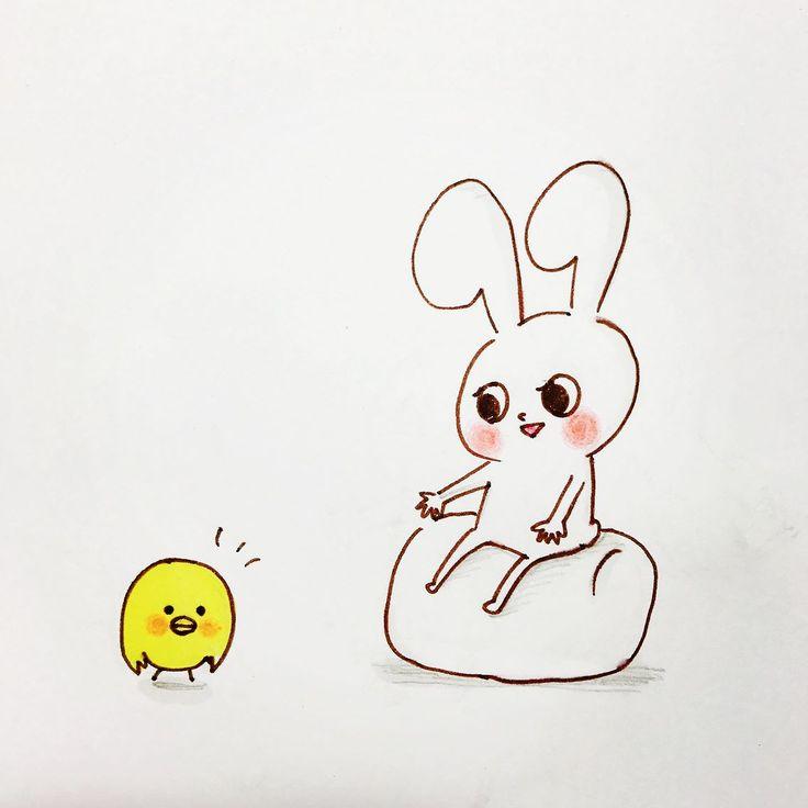 言葉より大切なもの  something more precious than words  #rabbit #chick #bird #tiny #character #lovely #animals #illustration  #mochirabbit #piyomaru #mochibi #precious #words #more #hug #love #warmth #うさぎ #ひよこ #キャラクター #イラスト #キャラ #モチうさぎ #ピヨ丸 #モチビ #大切 #言葉 #抱きしめる #愛 #温もり