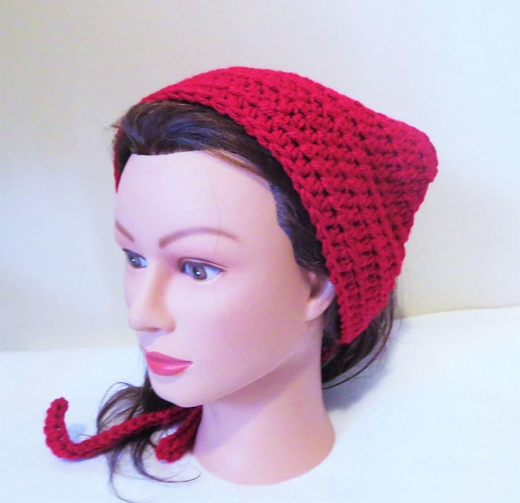 Red Kerchief, Red Crochet Bandana, Red Hood Du-rag, Crochet Head Scarf, Tie on Kerchief, Crochet Kerchief, Red Head Covering by TiStephani on Etsy