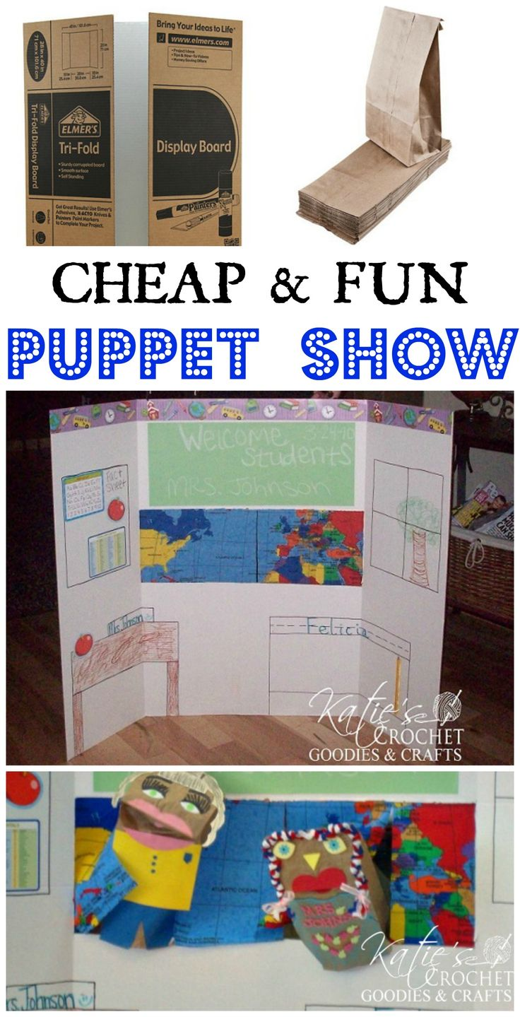 DIY Puppet Show using Tri-fold Poster Board : Puppets, Kids Learning ...